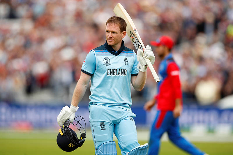 England's Eoin Morgan walks off after losing his wicket. Photo: Reuters
