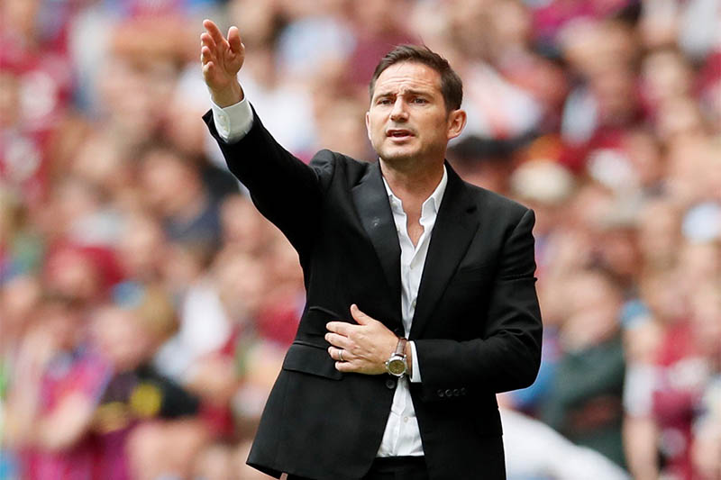 Derby County manager Frank Lampard gestures. Photo: Reuters