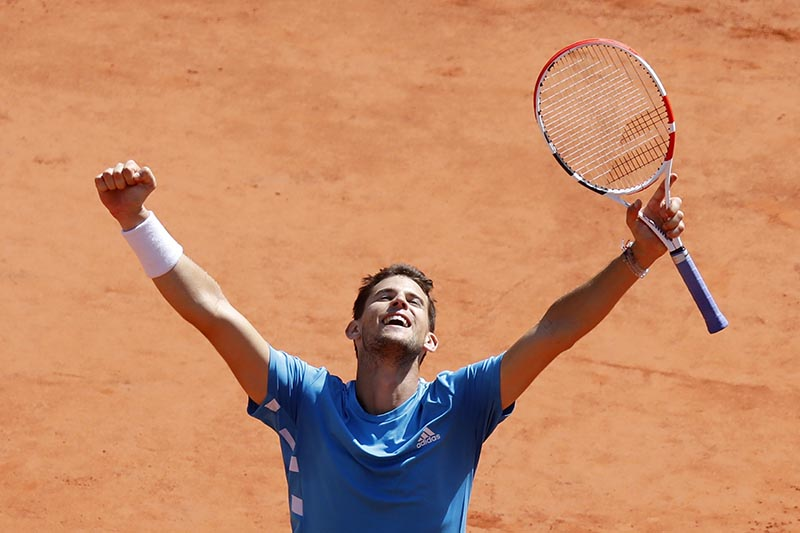Austria's Dominic Thiem celebrates after his French Open semifinal match against Serbia's Novak Djokovic, at Roland Garros, in Paris, France, on June 8, 2019. Photo: Reuters