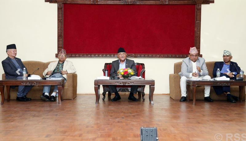 Prime Minister KP Sharma Oli (centre) discusses about Guthi Bill with Nepal Communist Party (NCP) leaders, in Kathmandu, on Monday, June 17, 2019. Photo: RSS