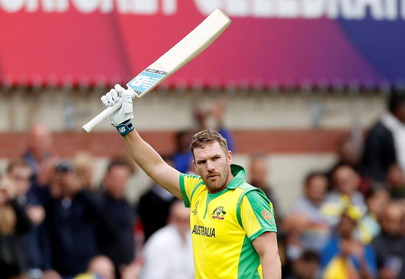 Australia's Aaron Finch acknowledges fans after losing his wicket during the ICC Cricket World Cup match between Sri Lanka and Australia, at Kia Oval, in London, Britain, on June 15, 2019. Photo: Action Images via Reuters