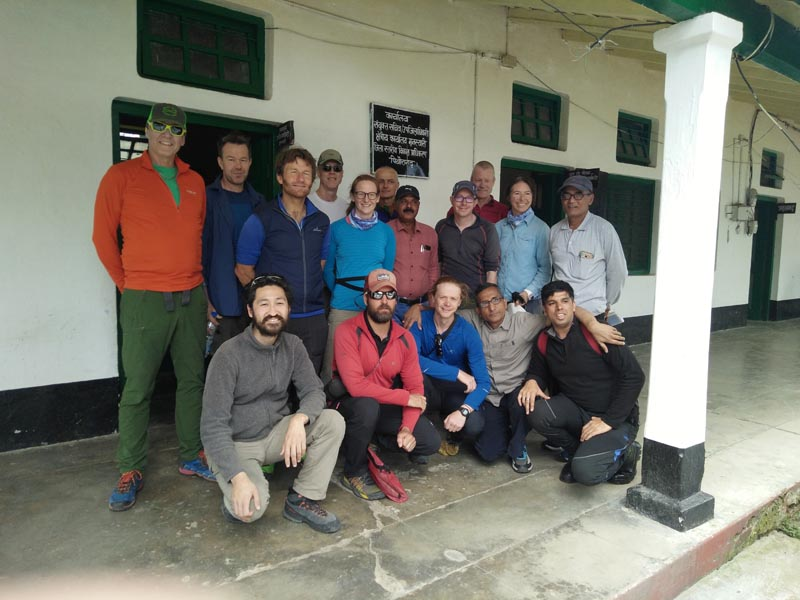 Climbers pose for a picture before leaving for their expedition in Munsiyari town in the northern Himalayan state of Uttarakhand, India May 13, 2019. Himalayan Run & Trek Pvt Ltd/Handout via Reuters