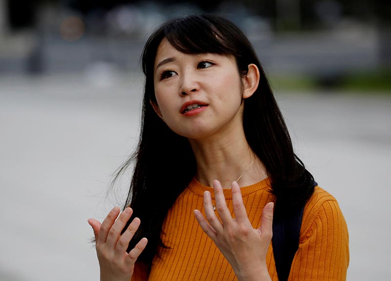 Yumi Ishikawa speaks during an interview with Reuters at a business district in Tokyo, Japan, June 4, 2019. Photo: Reuters