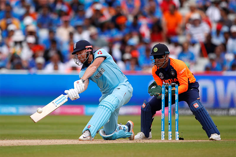 England's Jonny Bairstow hits a six. Photo: Reuters