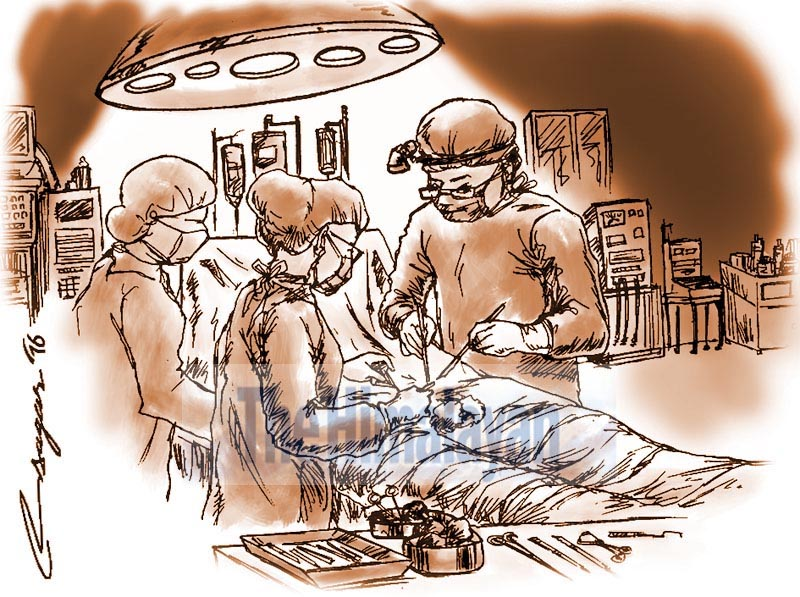 Kidney transplant. Illustration: Ratna Sagar Shrestha