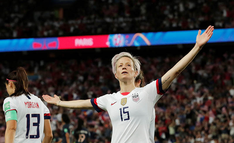 Megan Rapinoe of the US celebrates scoring their second goal during the Women's World Cup Quarter Final match between France and United States, at Parc des Princes, in Paris, France, on June 28, 2019. Photo: Reuters