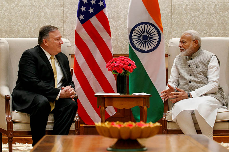 US Secretary of State Mike Pompeo, left, talks with Indian Prime Minister Narendra Modi during their meeting at the Prime Minister's Residence, Wednesday, June 26, 2019, in New Delhi, India. Photo: Reuters