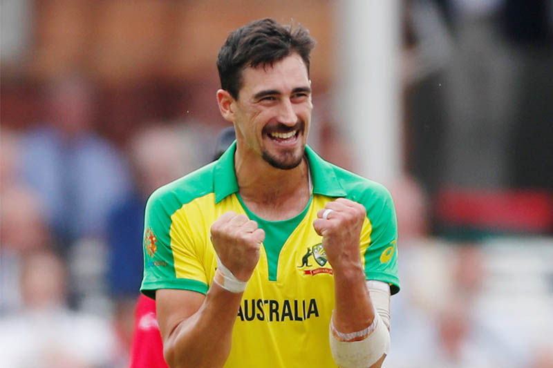 Australia's Mitchell Starc celebrates after taking a wicket. Photo: Reuters