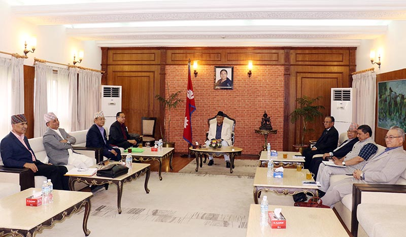 Top leaders of Nepal Communist Party (NCP) take part in the party's secretariat meeting held at Prime Minister's official residence in Baluwatar, Kathmandu, on Tuesday, June 4, 2019. Photo: RSS