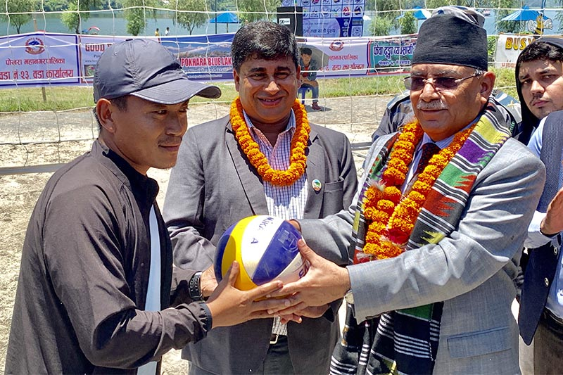 Nepal Communist Party (NCP) Co-chair and former Prime Minister Pushpa Kamal Dahal inaugurates sixth National Beach Volleyball Tournament, in Pokhara, on June 20, 2019. Photo: THT