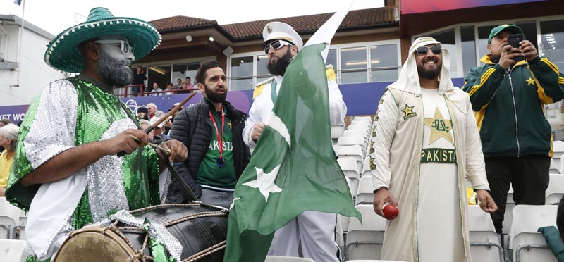 Pakistan fans wait for the start of the Cricket World Cup match between Australia and Pakistan at the County Ground in Taunton, south west England, Wednesday, June 12, 2019. Photo: AP