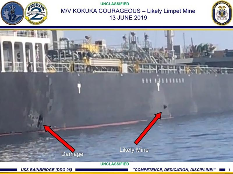 This June 13, 2019, image released by the US military's Central Command, shows damage and a suspected mine on the Kokuka Courageous in the Gulf of Oman near the coast of Iran. Photo: US Central Command via AP