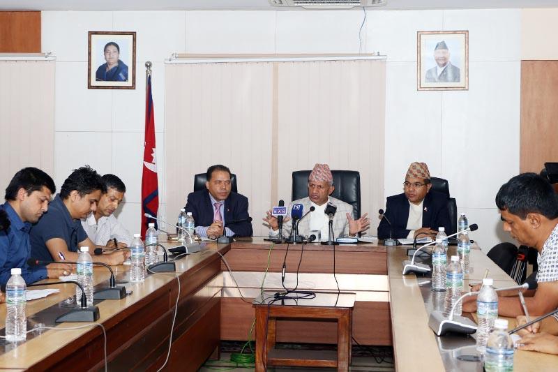 Minister of Foreign Affairs Pradeep Kumar Gyawali addressing mediapersons in Singha Durbar, Kathmandu, on Sunday, June 2, 2019. Photo: RSS