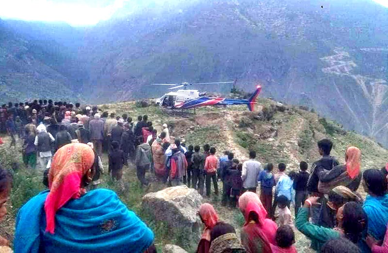 A helicopter ready to rescue a pregnant woman from Swamikartik Rural Municipality, Bajura, on Thursday, June 20, 2019. Photo: THT