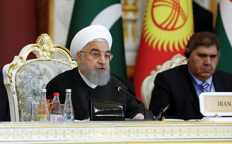 Iranian President Hassan Rouhani delivers a speech at the Conference on Interaction and Confidence-Building Measures in Asia (CICA) in Dushanbe, Tajikistan June 15, 2019. Photo: Reuters