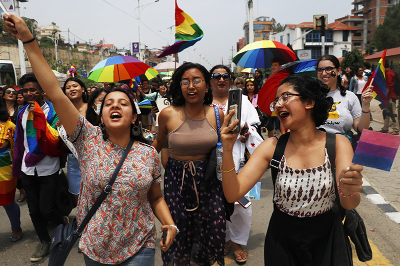 FILE - People from the LGBTIQ community and allies of the community participate in Nepal's first pride parade during the pride month, in Kathmandu, on Saturday, June 29, 2019. Photo: Ankit Khadgi/THT Online