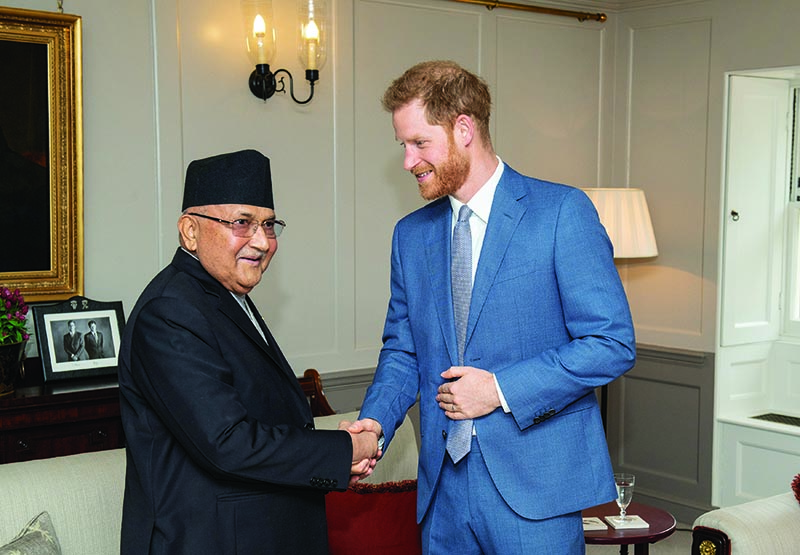 Britain's Prince Harry meets the Prime Minister of Nepal KP Sharma Oli during a private audience at Kensington Palace in London, Britain June 11, 2019. Photo: Reuters