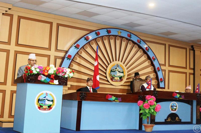 Province 5 Chief Minister Shankar Pokhrel presents the budget prioritising infrastructure development and tourism sector, at Provincial Assembly, on Sunday, June 16, 2019. Photo: RSS