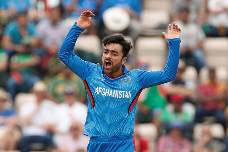 Afghanistan's Rashid Khan reacts. Photo: Reuters
