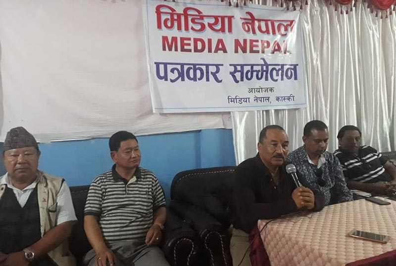 Rastriya Prajatantra Party Chairman Kamal Thapa speaking at a press meet organised by Media Nepal Kaski Chapter, in Pokhara, on Thursday. Photo: THT