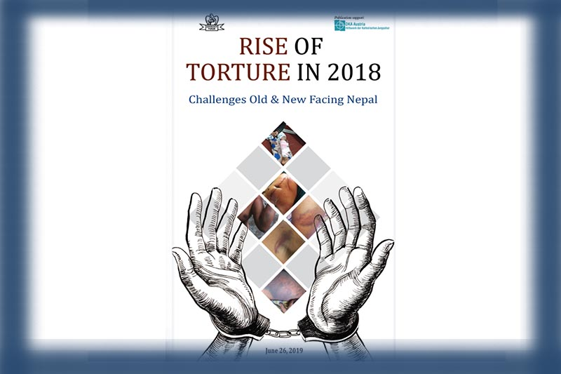 This image shows the front cover of report on rise of torture in 2018 prepared by Advocacy Forum. Image: Advocacy Forum