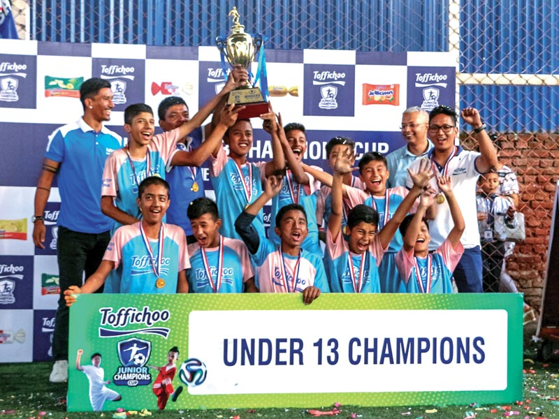 Daffodil School team members celebrate with the trophy after Toffichoo Junior Champions Cup in Kathmandu on Sunday. Photo: THT