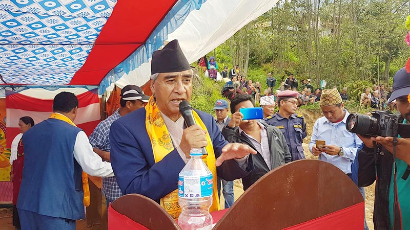 Nepali Congress President Sher Bahadur Deuba addresses a programme organised to conclude the first phase of his partyu2019s awareness campaign in Dudhpokhari Rural Municipality of Lamjung district, on Saturday, June 8, 2019. Photo: Ramji Rana/THT
