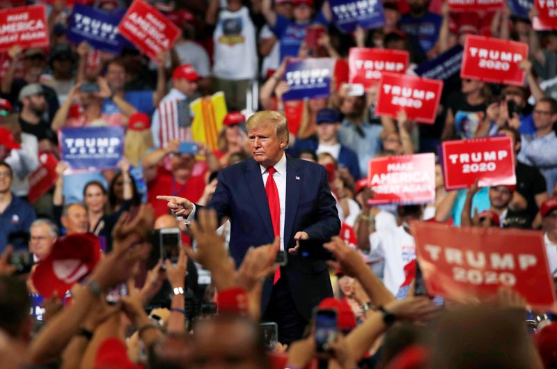 U.S. President Donald Trump reacts with supporters formally kicking off his re-election bid with a campaign rally in Orlando, Florida, US, June 18, 2019. Photo: Rueters