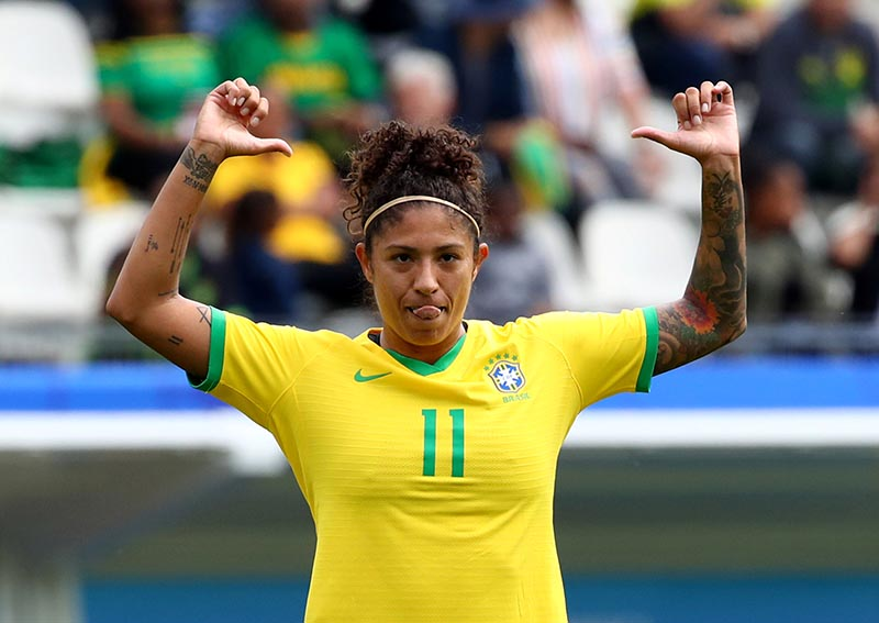 Brazil's Cristiane celebrates scoring their first goal during the Women's World Cup Group C match between Brazil and Jamaica, at Stade des Alpes, in Grenoble, France, on June 9, 2019. Photo: Reuters