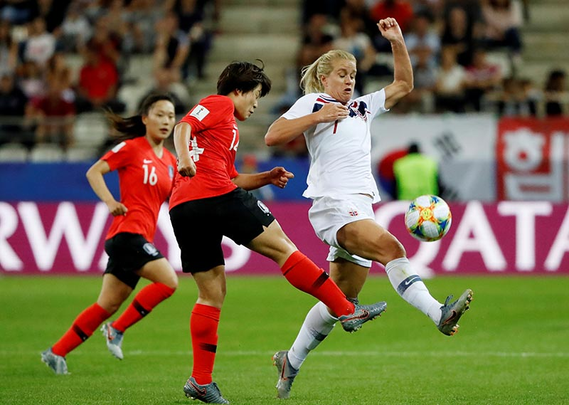 Korea Republic's Shin Damyeong shoots at goal as Norway's Elise Thorsnes attempts to block during the Women's World Cup Group A match between Korea Republic and Norway, at Stade Auguste-Delaune, in Reims, France, on June 17, 2019. Photo: Reuters