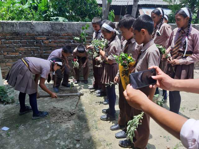Students participating in a plantation programme on the occasion of World Environment Day, in Bara district, on Wednesday, June 5, 2019. Photo: Pushpa Raj Khatiwada/THT
