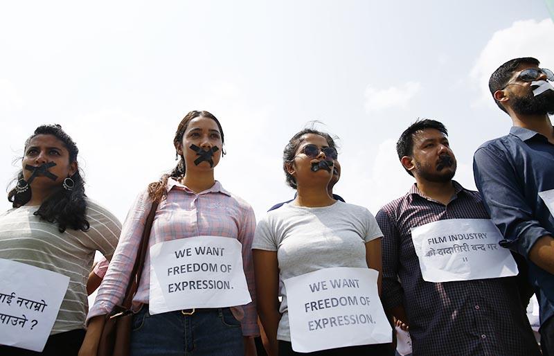 Protesters demanding the release of YouTuber Pranesh Gautam, in Maitighar, Kathmandu, on Wednesday, June 12, 2019. Photo: Skanda Gautam/THT