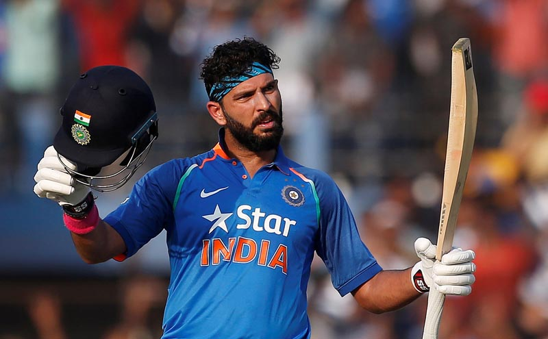 India's Yuvraj Singh celebrates after scoring a century during a India versus England match in Second One Day International at Barabati Stadium, Cuttack, India on 19 January 2017.  Photo: Reuters/File