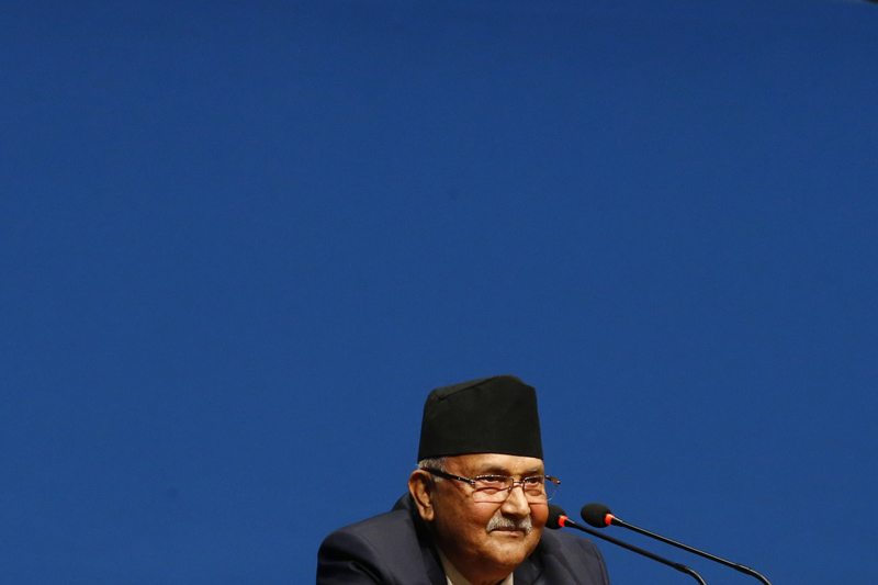 Prime Minister KP Sharma Oli waits to talk about the Guthi Bill, among other matters, after Nepali Congress lawmakers obstructed the House of Representatives, at the Federal Parliament, in Kathmandu, on Tuesday, June 18, 2019. Photo: Skanda Gautam/THT