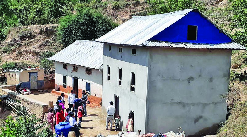 A view of a retrofitted house constructed by National Reconstruction Authority in Namobuddha Municipality, nKavre, on Wednesday, June 26, 2019. Photo: THT