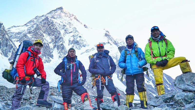 Five Nepali climbers who stood atop Mt K2 this morning. Photo Courtsey: Mingma David Sherpa