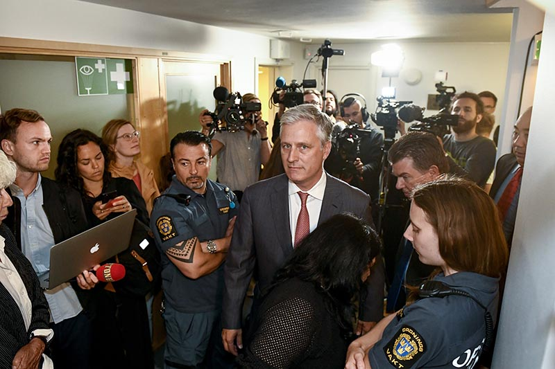 Robert C O'Brien, US Special Envoy Ambassador, centre, arrives at the district court where US rapper A$AP Rocky is to appear on charges of assault, in Stockholm, Sweden, Tuesday July 30, 2019. Photo: Erik Simander/ TT