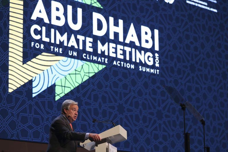 United Nations Secretary General Antonio Guterres talks to the audience at the opening ceremony of the United Nations climate change summit in Abu Dhabi, United Arab Emirates, Sunday, June 30, 2019.