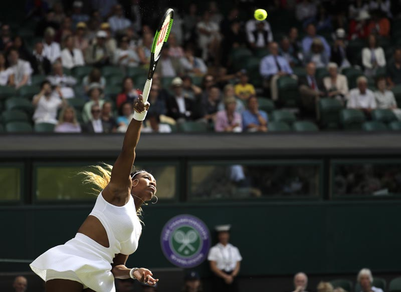 United States' Serena Williams serves to Italy's Giulia Gatto-Monticone in a Women's singles match during day two of the Wimbledon Tennis Championships in London, Tuesday, July 2, 2019.  Photo: AP