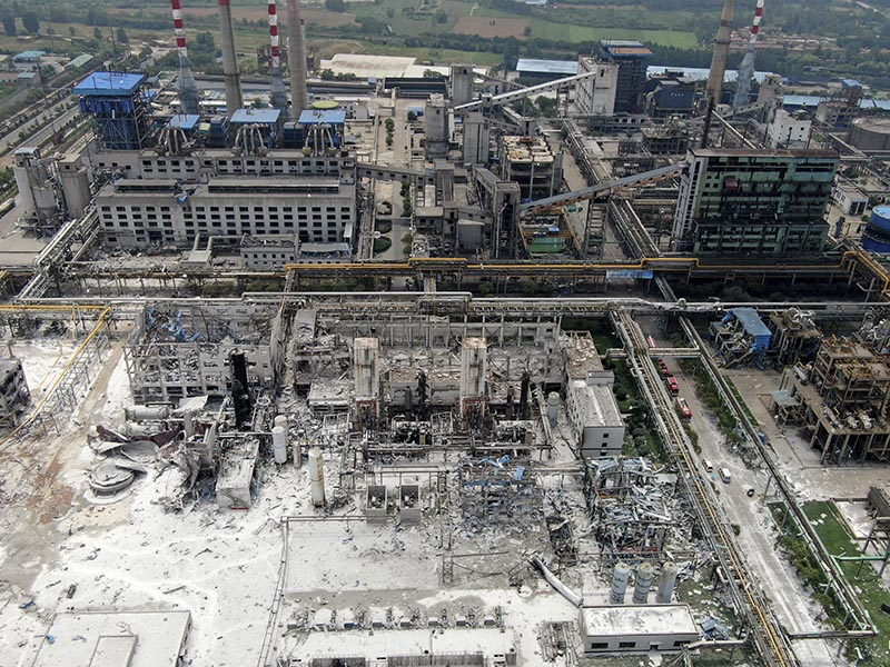 An aerial view shows the aftermath of the blast at a gas plant in Yima city in central China's Henan province Saturday, July 20, 2019. Photo: Chinatopix via AP