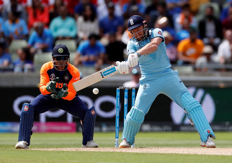 England's Jonny Bairstow in action during the ICC Cricket World Cup  match between England and India, at Edgbaston, in Birmingham, Britain, on June 30, 2019. Photo: Action Images via Reuters