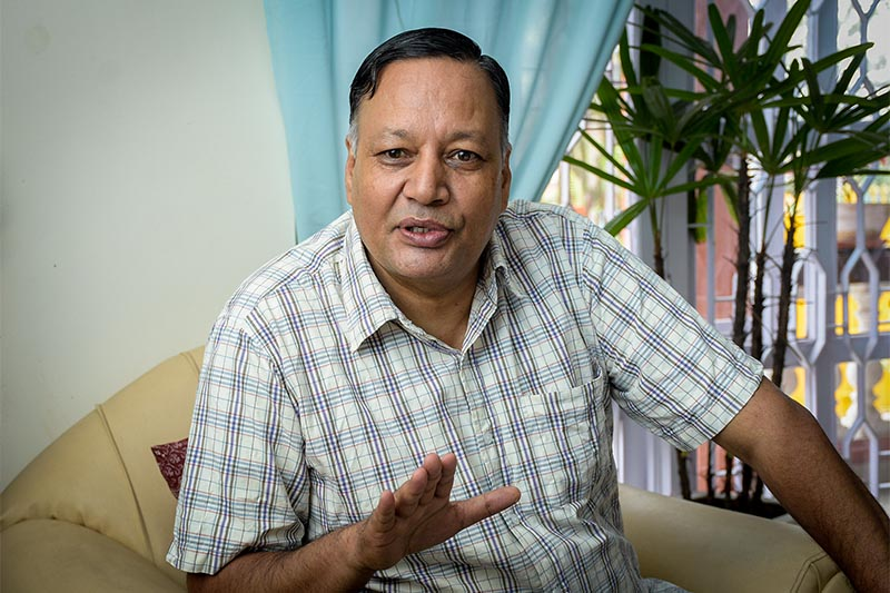 Interview with Nepal Communist Party (NCP) central committee member Devendra Poudel. Photo: Naresh Shrestha/ THT