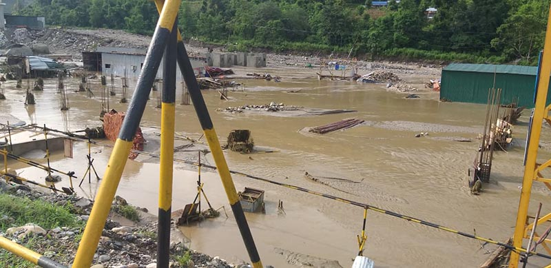 A view of the under-construction Huaxin Narayani Cement Industry inundated by flood water at Kolti in Benighat Rorang Rural Municipality-2, Dhading district, on Monday, July 15, 2019. Photo: Keshav Adhikari/ THT