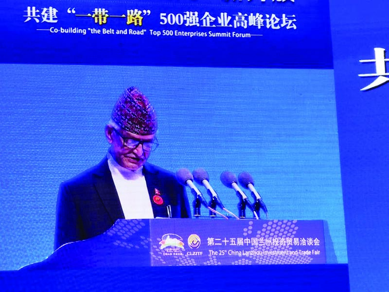 Chief Minister of Province 3 Dormani Poudel addressing a programme in Gansu Province, China, on Thursday, July 4, 2019. Photo courtesy: Chief Minister's Secretariat