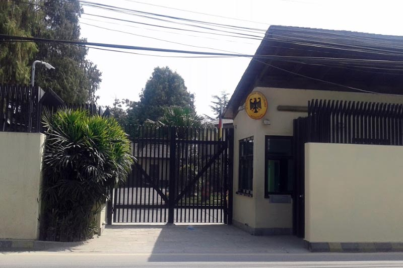 This undated image shows the main entrance of the Embassy of Germany, in Kathmandu.