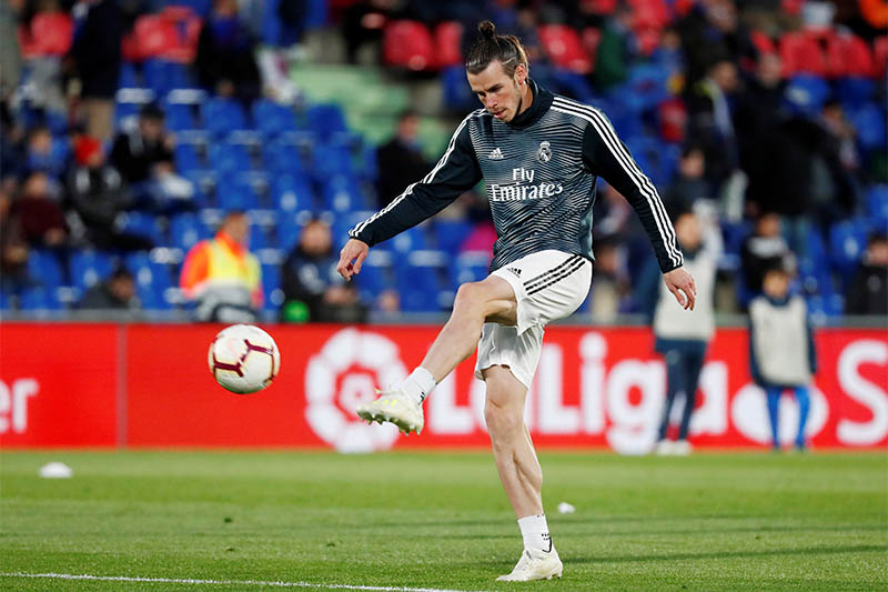 Real Madrid's Gareth Bale during the warm up before the match. Photo: Reuters