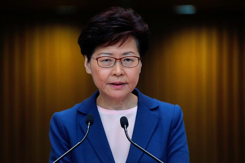 Hong Kong Chief Executive Carrie Lam speaks to media over an extradition bill in Hong Kong, China July 9, 2019. Photo: Reuters