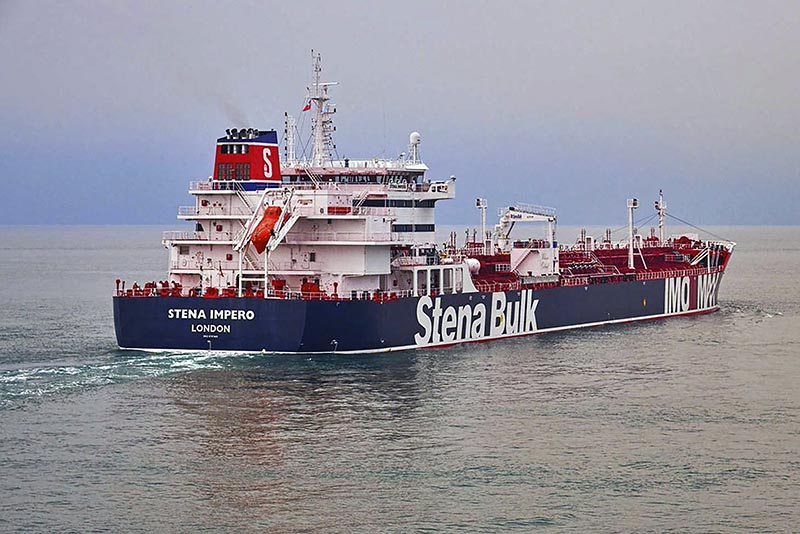 The British oil tanker Stena Impero at unknown location, in undated photo issued Friday July 19, 2019 is believed to have been captured by Iran. Photo: Stena Bulk via AP