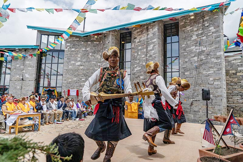 Performers at the formal opening of Khumbu Climbing Centre, in Solukhumbu, on June 13.