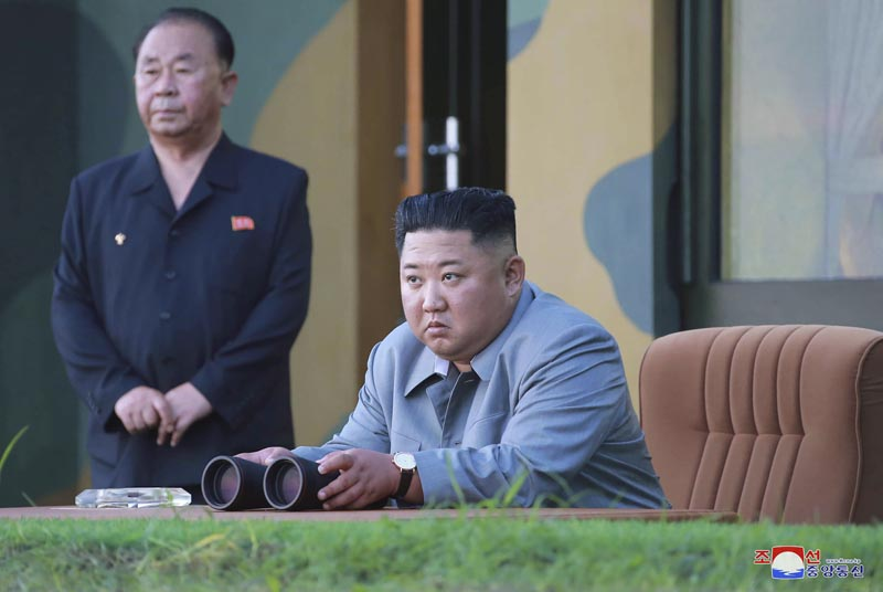 In this Thursday, July 25, 2019, photo provided on Friday, July 26, 2019, by the North Korean government, North Korean leader Kim Jong Un watches a missile test in North Korea. Photo: Korean Central News Agency/Korea News Service via AP